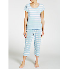 Buy John Lewis Stripe Short Sleeve Cropped Pyjama Set, Blue Online at johnlewis.com
