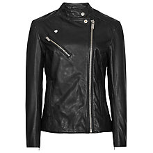 Buy Reiss Leather Mya Biker Jacket, Black Online at johnlewis.com