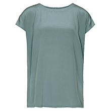 Buy Reiss Silk Front T-Shirt, Baltic Blue Online at johnlewis.com