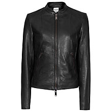 Buy Reiss Clo Leather Fitted Jacket, Black Online at johnlewis.com