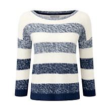 Buy Pure Collection Striped Cashmere Sweater, French Navy/Soft White Online at johnlewis.com