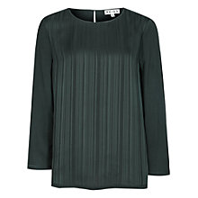 Buy Reiss Adina Pintuck Top, Green Online at johnlewis.com
