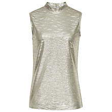 Buy Reiss Tamla Jersey High Neck Tank Top, Gold Shimmer Online at johnlewis.com