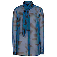 Buy Reiss Silk Scout Tie Neck Shirt, Blue Abyss Online at johnlewis.com