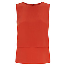 Buy Hobbs Kora Silk Top, Coral Orange Online at johnlewis.com