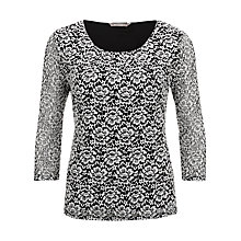 Buy Planet Contrast Lace Top, Black/Multi Online at johnlewis.com