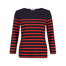 Buy Hobbs Layla Cotton Top, Navy/Red Online at johnlewis.com