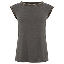 Buy Warehouse Embellished Trim Top, Light Grey Online at johnlewis.com