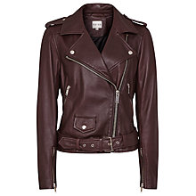 Buy Reiss Belt Detail Leather Biker Jacket, Ox Blood Online at johnlewis.com