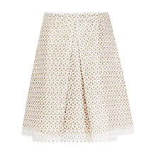 Buy Reiss Starla Geometric Lace Skirt, Off White/Gold Online at johnlewis.com