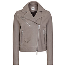 Buy Reiss Leather Favour Biker Jacket, Storm Online at johnlewis.com