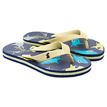 Buy Little Joule Shark Print Toepost Flip Flops, Multi Online at johnlewis.com
