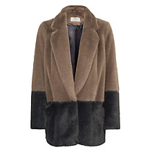 Buy Urbancode Beau Colour Block Faux Fur Coat, Airforce/Shadow Online at johnlewis.com