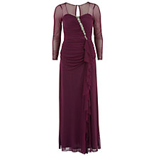 Buy Gina Bacconi Long Mesh Dress With Beading, Aubergine Online at johnlewis.com