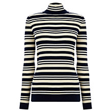 Buy Warehouse Stripe Polo Neck Jumper, Blue/White Online at johnlewis.com