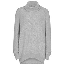 Buy Reiss Waffle Roll Neck Jumper, Soft Grey Melange Online at johnlewis.com