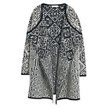 Buy Mango Jacquard Wool Cardigan, Black Online at johnlewis.com