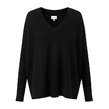 Buy Jigsaw Sheer Cuff Slouchy Jumper, Black Online at johnlewis.com