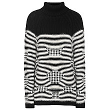 Buy Reiss Stripe Knit Jumper, Black/Off White Online at johnlewis.com