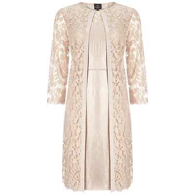 Adrianna Papell Lace Yoke Shimmer Sheath Dress And Coat, Jute
