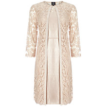 Buy Adrianna Papell Lace Yoke Shimmer Sheath Dress And Coat, Jute Online at johnlewis.com