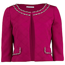 Buy Gina Bacconi Embossed Scuba Jacket With Beaded Neckline, Raspberry Online at johnlewis.com