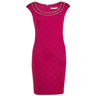Gina Bacconi Embossed Scuba Dress With Beaded Neckline, Raspberry