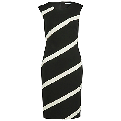 Gina Bacconi Soft Handle Banded Ponti Dress, Black/Ivory