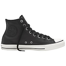 Buy Converse Chuck Taylor All Star High Top Leather Trainers, Black Online at johnlewis.com
