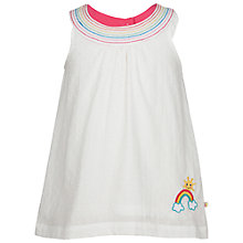 Buy Frugi Organic Girls' Floaty Rainbow Top, White Online at johnlewis.com