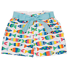 Buy Frugi Organic Girls' Martha Rainbow Fish Shorts, White/Multi Online at johnlewis.com