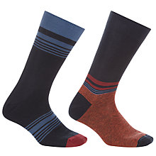 Buy John Lewis Varied Stripe Socks, Pack of 2, Navy/Orange Online at johnlewis.com