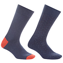 Buy John Lewis Made in Italy Plain and Mini Dot Socks, Pack of 2, Blue Online at johnlewis.com