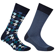 Buy John Lewis Made in Italy Chevron Socks, Pack of 2, Navy Online at johnlewis.com