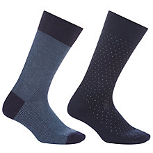 Buy John Lewis Made in Italy Mini Dot Socks, Pack of 2, Navy Online at johnlewis.com