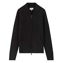 Buy Jigsaw Pique Stitch Merino Knit Bomber, Coal Melange Online at johnlewis.com