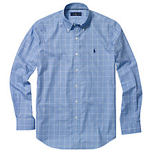 Buy Polo Golf by Ralph Lauren Long Sleeve Sports Shirt, Blue/White Online at johnlewis.com