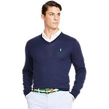 Buy Polo Golf by Ralph Lauren V-Neck Jumper, Blue Online at johnlewis.com