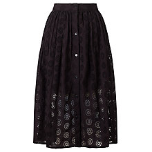 Buy Somerset by Alice Temperley Frayed Broderie Skirt, Black Online at johnlewis.com