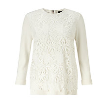 Buy Bruce by Bruce Oldfield Lace Overlay Jumper, Cream Online at johnlewis.com