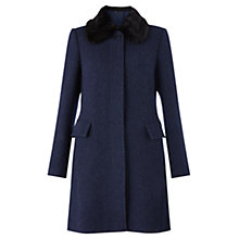 Buy Jigsaw Soft Tweed Princess Coat, Navy Online at johnlewis.com