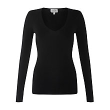 Buy Jigsaw Silk Cotton Blend Sweater, Black Online at johnlewis.com
