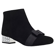 Buy KG by Kurt Geiger Solo Bow Vamp Detail Ankle Boots, Black Suede Online at johnlewis.com