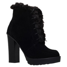 Buy Miss KG Serene Stacked High Heel Ankle Boots, Black Suedette Online at johnlewis.com