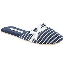 Buy John Lewis Side Bow Mule Slippers, Blue Online at johnlewis.com