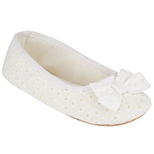Buy John Lewis Ballerina Bow Slippers, White Online at johnlewis.com