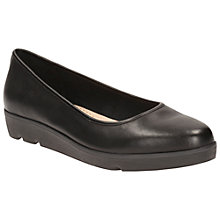 Buy Clarks Evie Low Wedge Heeled Pumps, Black Leather Online at johnlewis.com