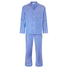 Buy Derek Rose Wide Stripe Woven Cotton Pyjamas, Blue/Pink Online at johnlewis.com