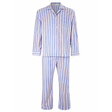 Buy Derek Rose Two Stripe Brushed Cotton Pyjamas, Blue Online at johnlewis.com