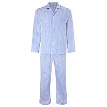 Buy Derek Rose Gingham Check Woven Cotton Pyjamas, Blue Online at johnlewis.com